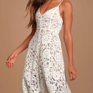 Lulus white lace midi dress